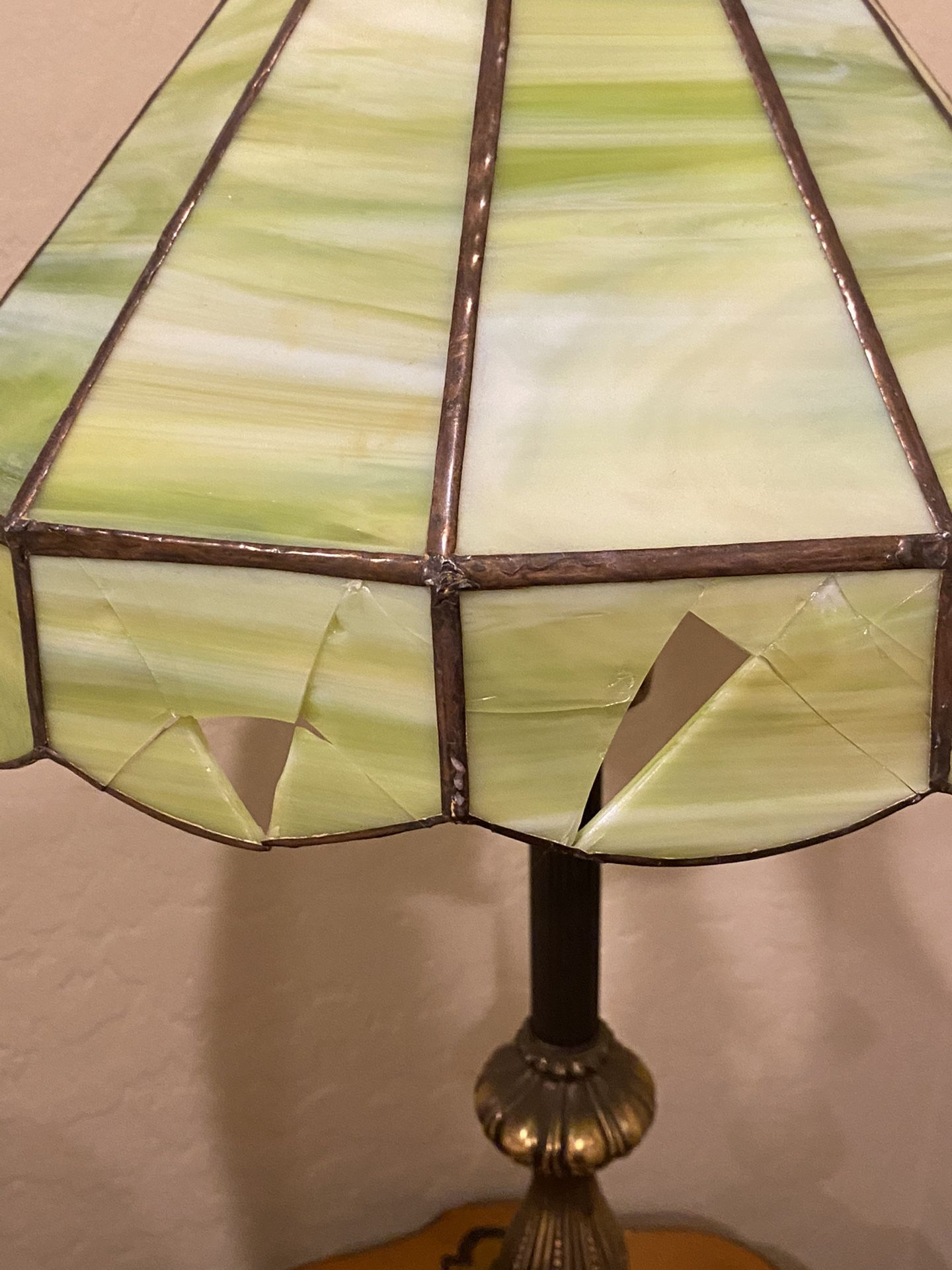 Vintage stained glass brass lamp.