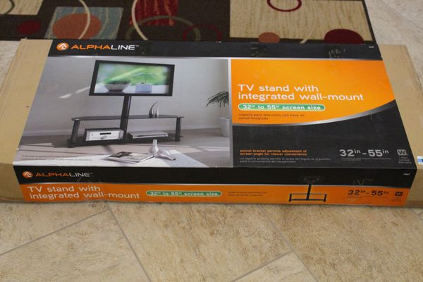 Alphaline Glass And Metal Tv Stand With Integrated Wall Mount 32