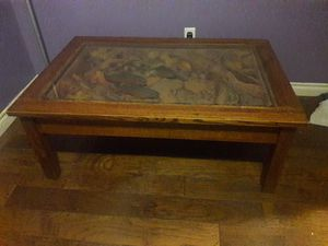 Hand carved glass top fish wood coffee table for Sale in Federal Way, WA