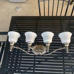 Brushed Nickel Finish Bathroom Light Fixture Alabaster Glass Bells Thumbnail