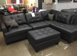 Brand New Espresso Faux Leather Sectional Sofa Couch + Ottoman for Sale in Washington, DC