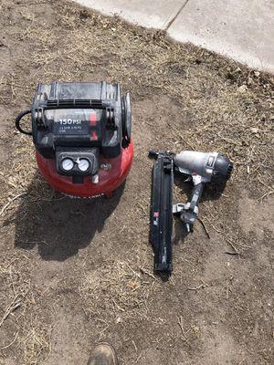Photo Porter cable air compressor and framing nail gun