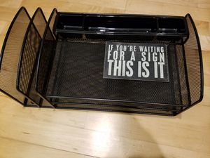Black Mesh Desk Organizer Letter Tray for Sale in San Francisco, CA