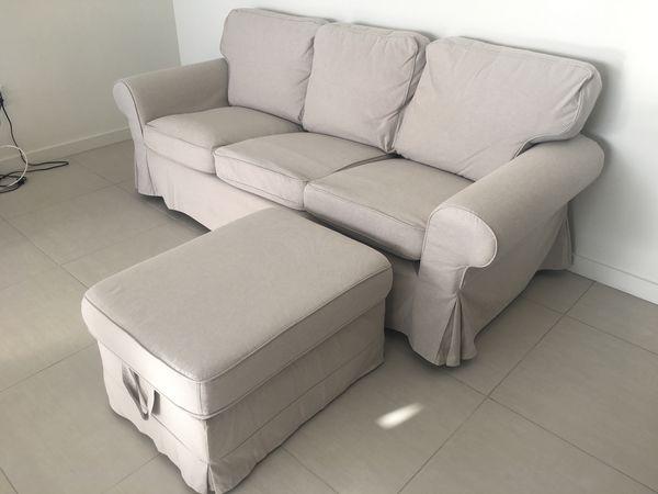 Ikea Ektorp Sofa Lofallet Beige And Ottoman For Sale In