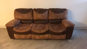 Brown suede 3 seat recliner sofa for Sale in Halethorpe, MD