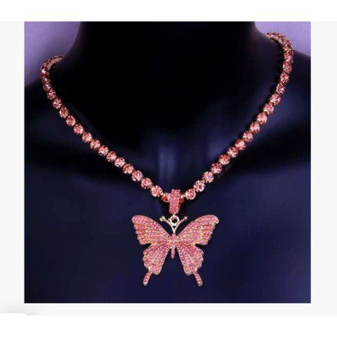 Pink Bling Butterfly necklace
