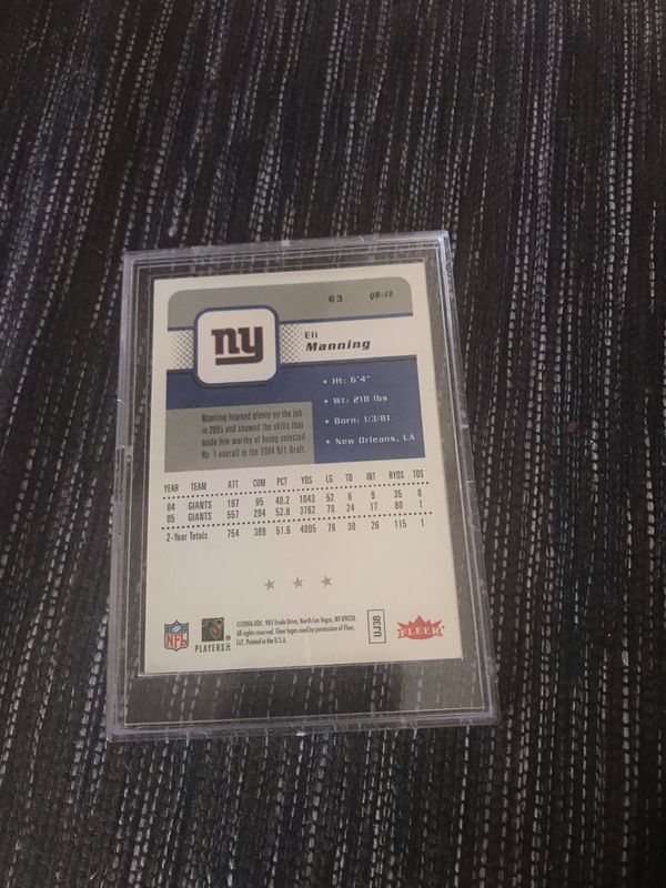 Eli Manning Autographed Card With Certificate Of Authenticity