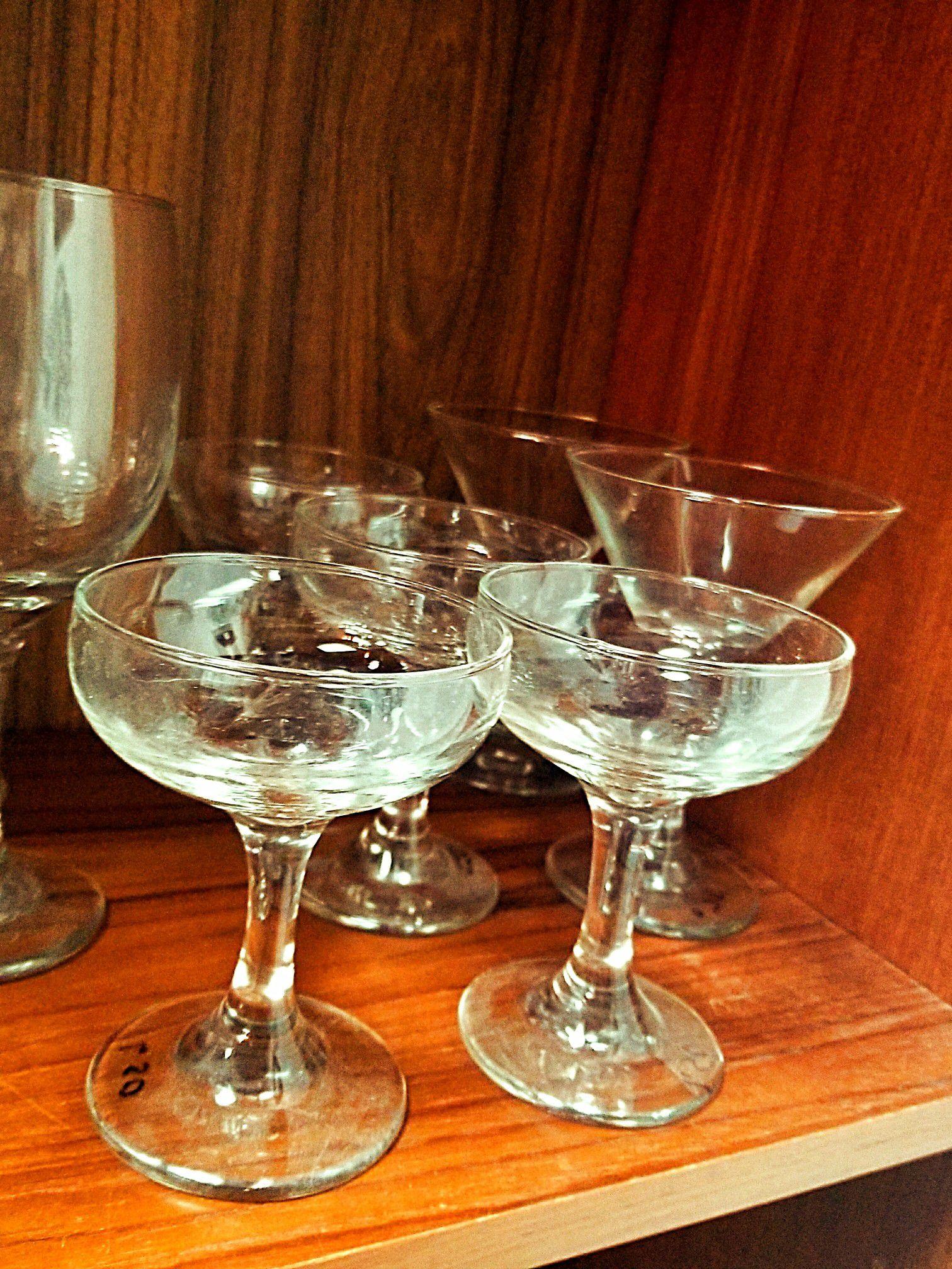 Glasses vases etc