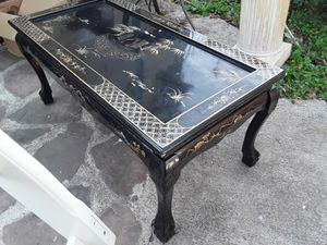 Photo Antique Asian coffee table hand painted good condition asking 400 or best offer