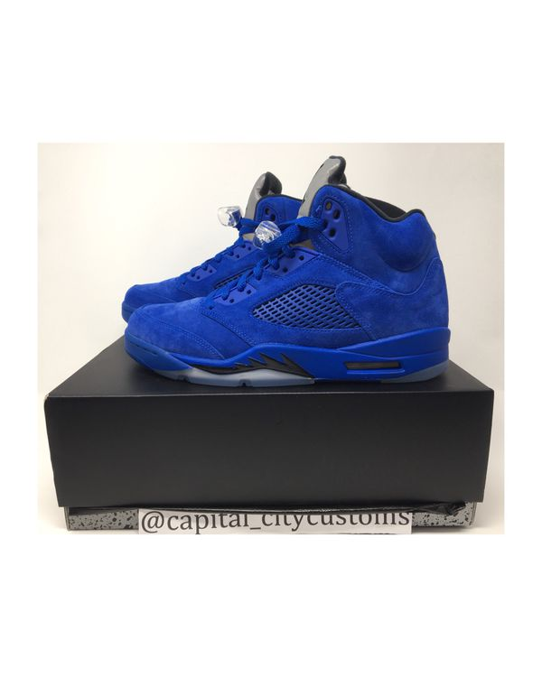 timeless design c39ab b5daa Nike Air Jordan 5 Retro Blue Suede Game Royal   Game Royal Black Size 10
