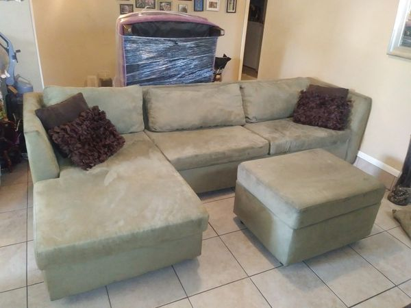 Mint Green Suede Sofa Chaise Lounge Ottoman Furniture In Mesa