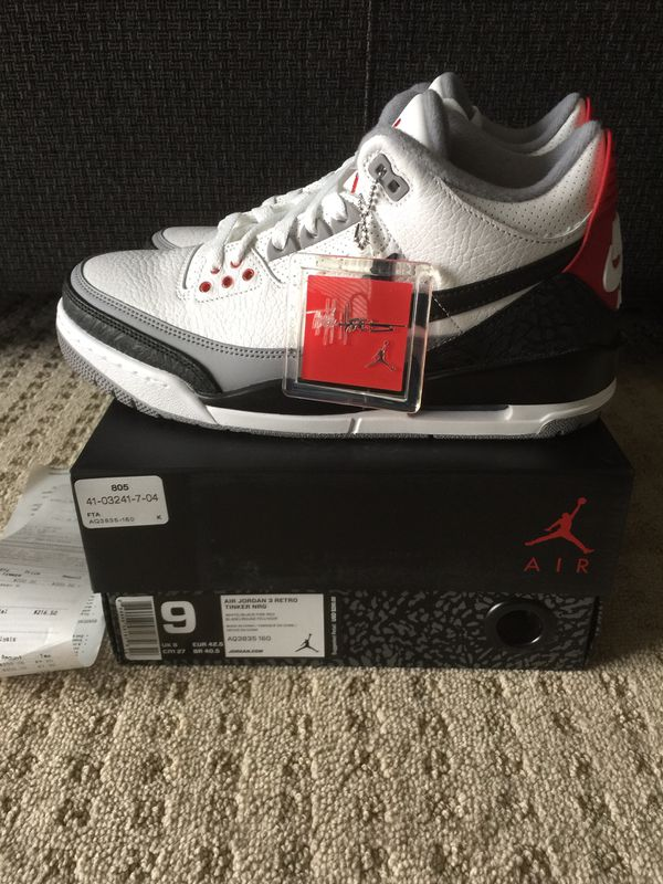 68684934c5bc52 Nike Air Jordan 3 TINKER black white cement True blue sz 9 yeezy for ...