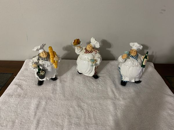 Three Italian Cooks Figurines Plaster Of Paris For Sale In