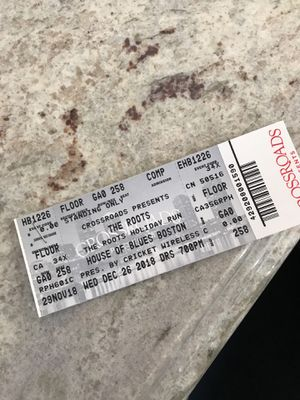 Two tickets to the roots 12/26 tonight for Sale in Boston, MA