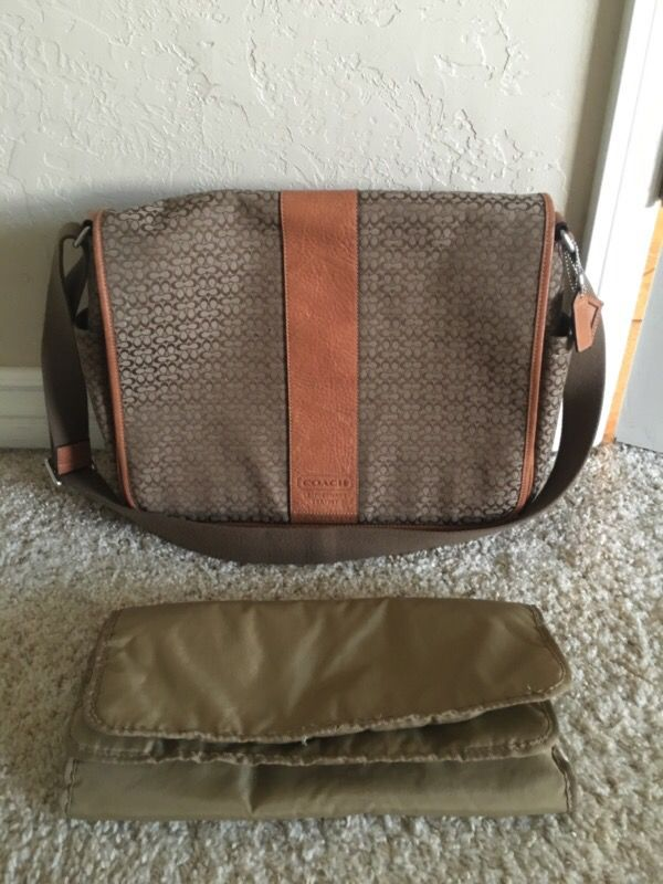 bdcd49544caa Coach F77004 Brown Signature Jacquard Canvas   Leather Messenger   Diaper  Bag