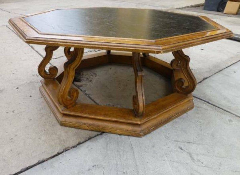 Drexel wood carved Coffee Table 40x17, Restoration Hardware, Mid Century Modern, walnut wood, USA, octagon, Pottery barn, williams sonoma, Game,Poker
