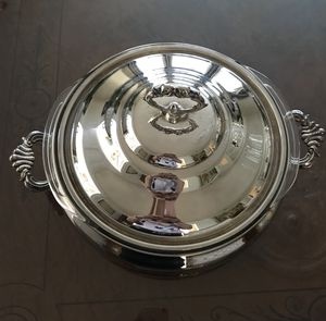 Vintage Silver plated Chafing dish with Pyrex matching bowl for Sale in Potomac, MD