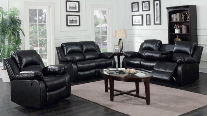 Astros Black 3-Piece Reclining Living Room Set