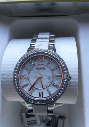 Fossil Round silver rolex analog watch with link Marble bracelet for Sale in Alexandria, VA