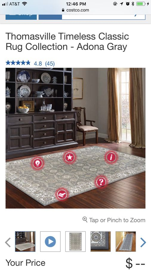 Thomasville Timeless Classic Rug Collection Adona Gray 8ft