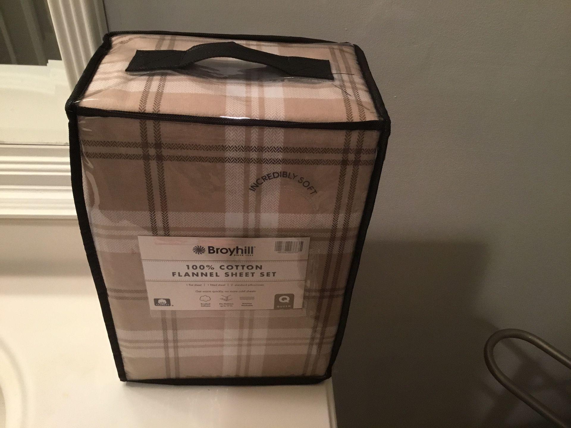Queen 100% Flannel Sheet Set (New)