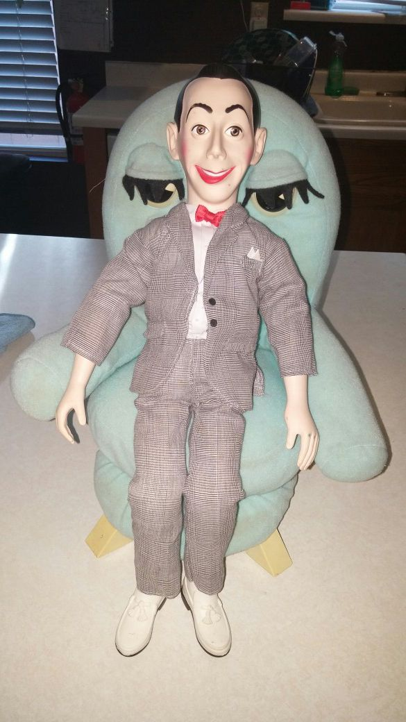 1987 PEE WEE'S PLAYHOUSE PEE WEE HERMAN DOLL RARE AND CHAIRRY PUPPET RARE