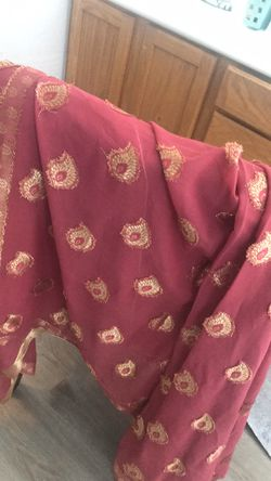 Maroon/ Gold Sari, only worn once Thumbnail