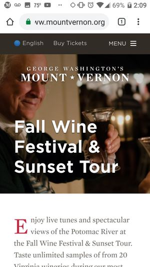 Tickets to mount vernon wine festival tonight for Sale in undefined