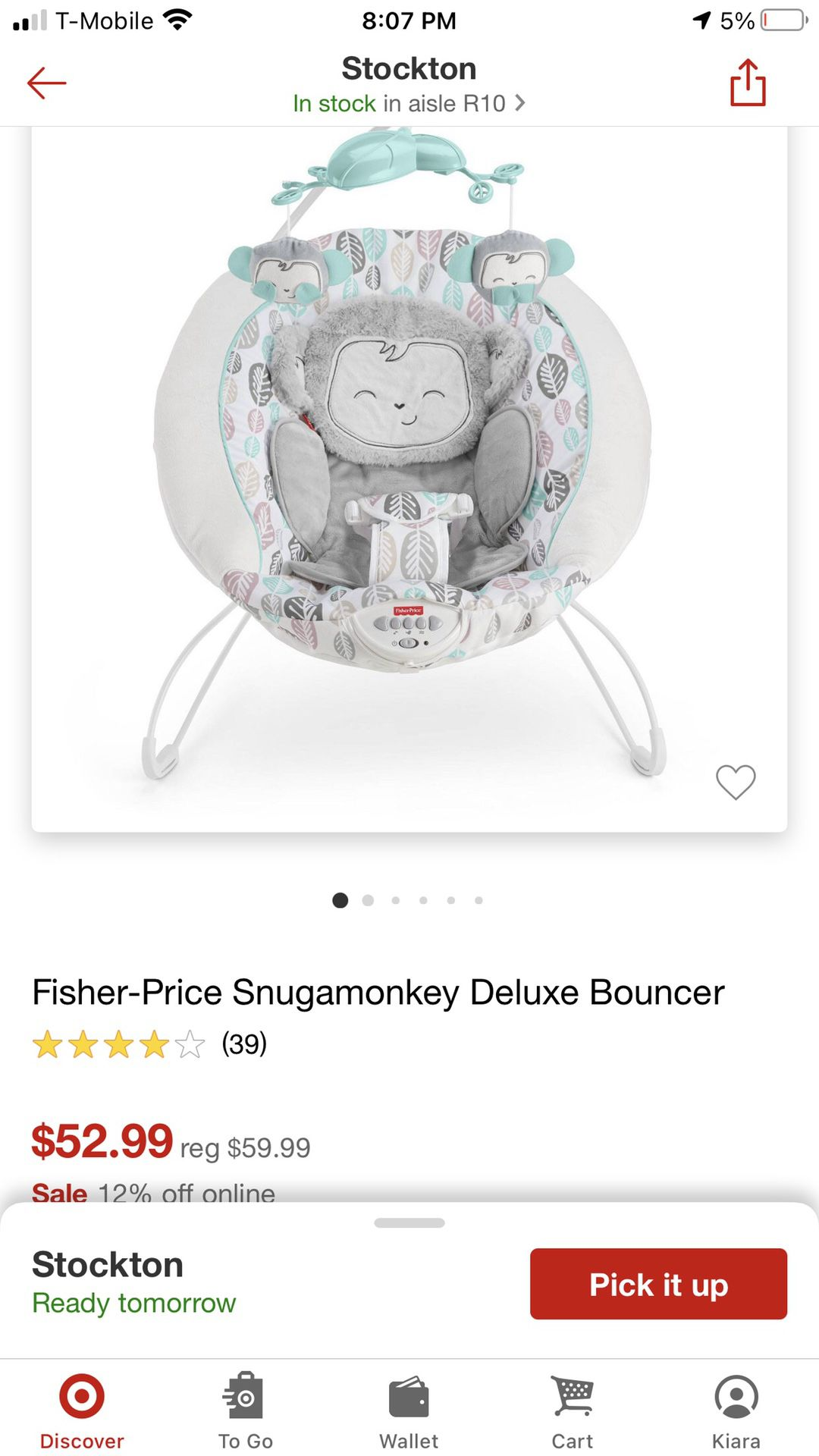 Fisher Price Snugamonkey Deluxe Bouncer