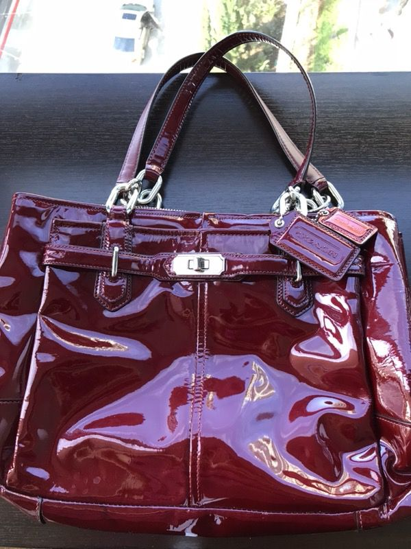 3a8468eb8fa4 Beautiful Red Maroon Coach patent leather tote bag! Perfect gift for ...