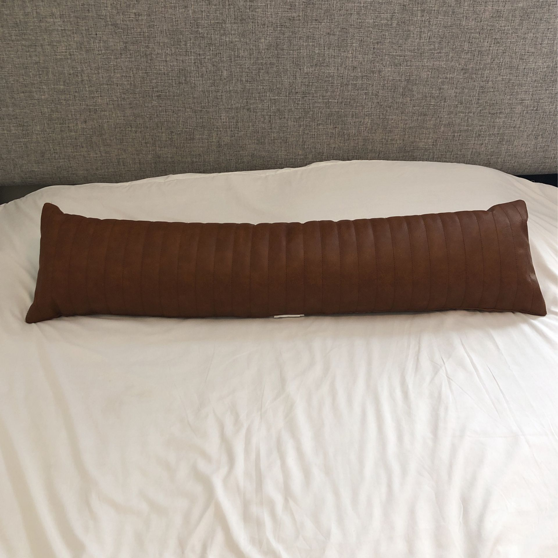 Brown Faux Leather Lumbar/ Body Pillow - Project 62