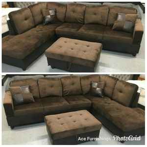 Brand New Brown Microfiber Sectional With Storage Ottoman & Tax Free for Sale in Federal Way, WA