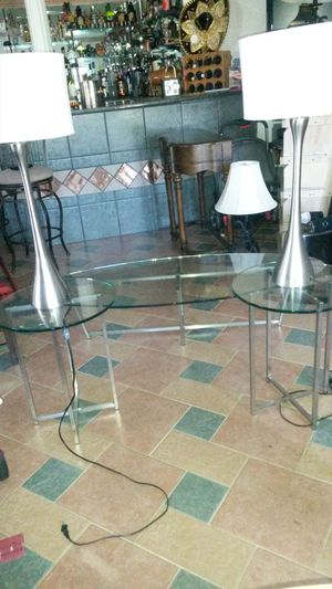 Solid glass and metal coffee table and 2 end tables for Sale in Spencerville, MD