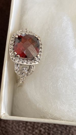 Photo 10 K White Gold tiny diamond ring with red birthstone size 5 1/2