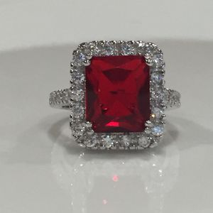 Sterling silver plated ruby red Christmas ring jewelry for Sale in Silver Spring, MD