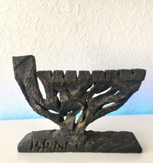 Vintage Menorah Hanukkah Israel Brutalist Cast Iron for Sale in Miami, FL