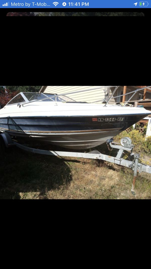 1996 maxum boat and trailer, inboard outboard motor, with on deck cab, runs and floats asking 3900 o