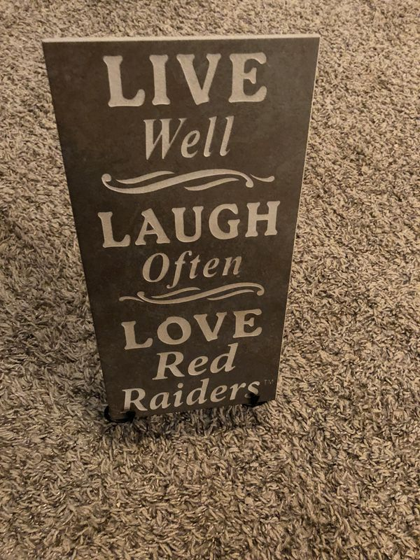 Texas Tech Ceramic Tile Art Live Laugh Love Red Raiders With Stand