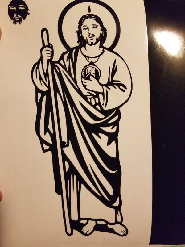 San Judas Tadeo 3x7 Inch Decal Sticker Black For Sale In Inglewood