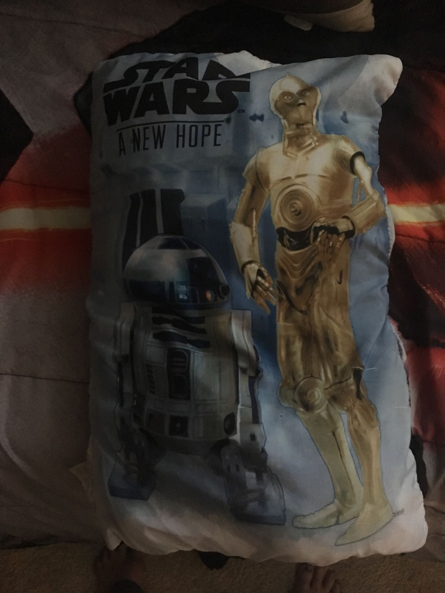 Star Wars Twin Bed Set with a black fitted and black regular sheet. Reversible Star Wars comforter, along with two Star Wars pillow shams. Also inclu