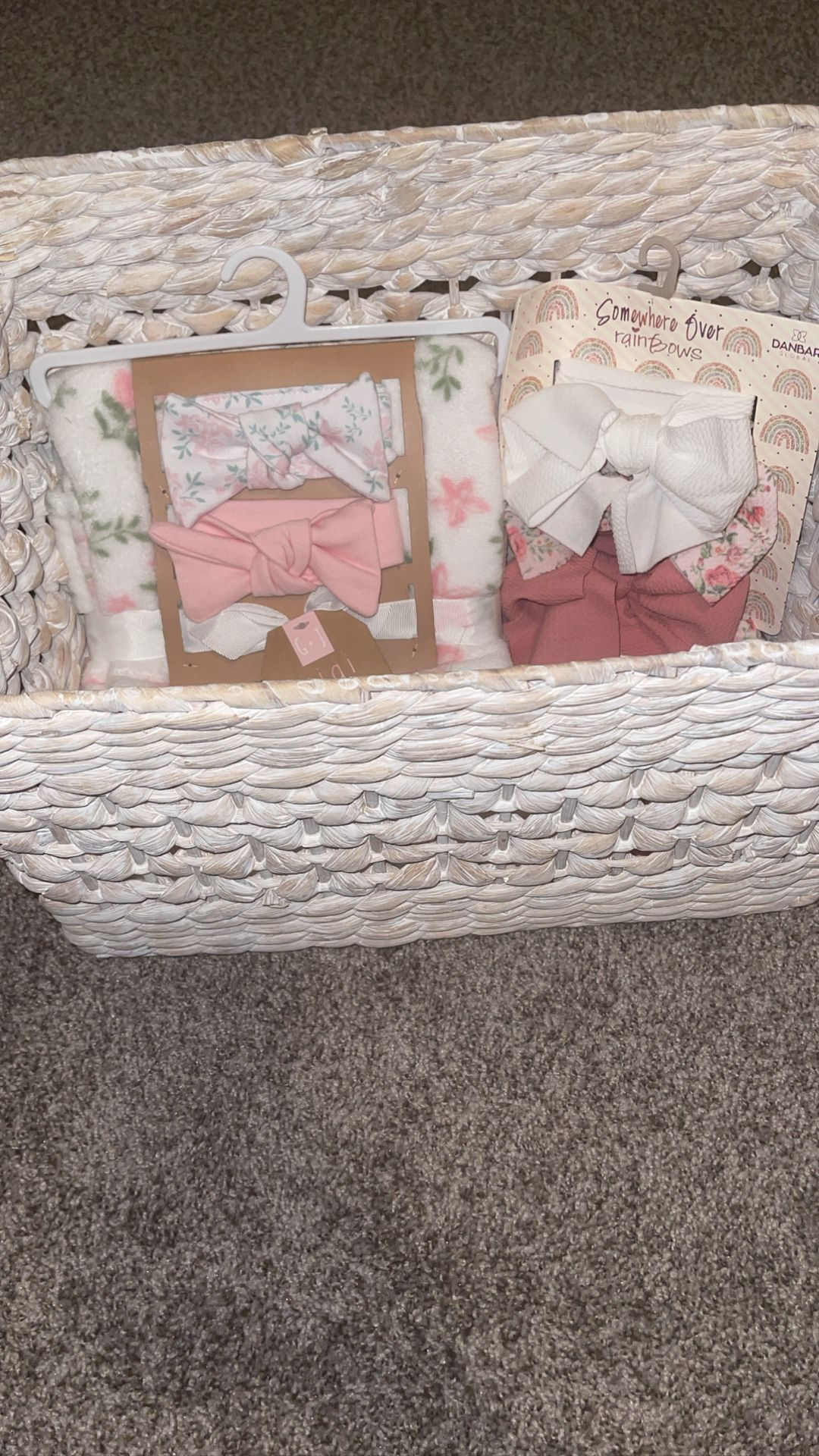 Brand New Baby GIRL Basket With Blanket & Hair bands