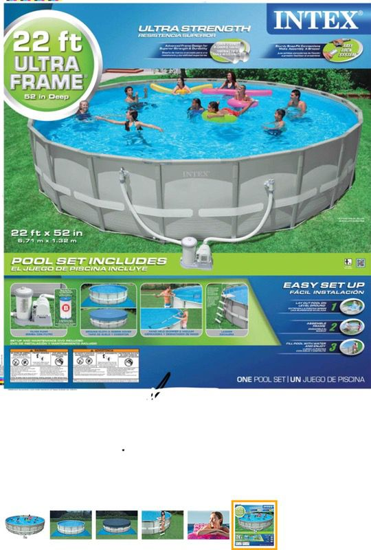 22 ft x 52 inch ultra frame intex pool for Sale in Pinckney, MI ...