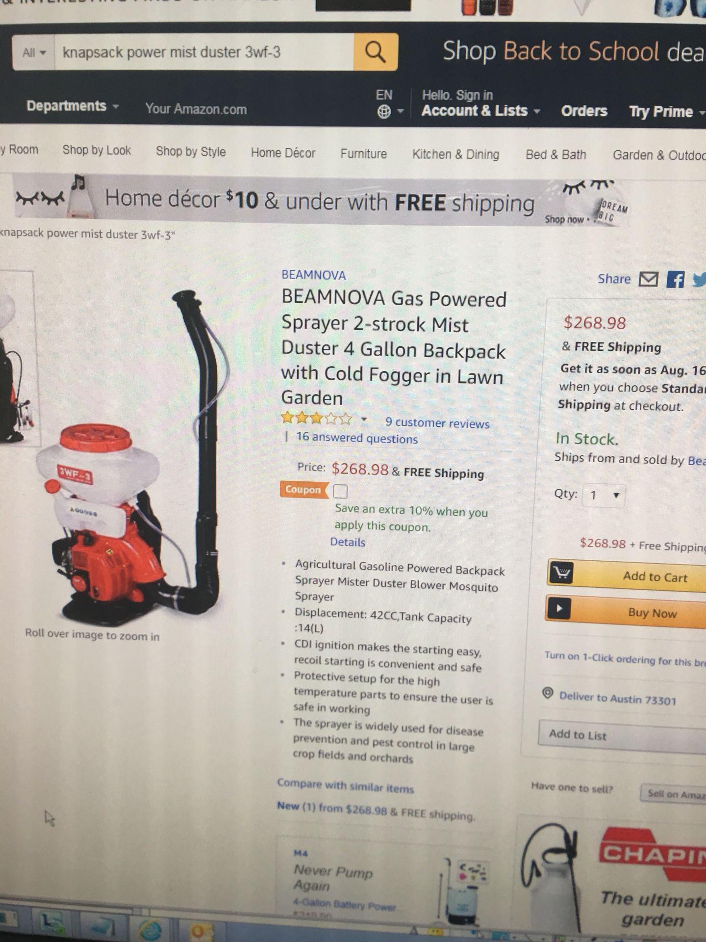 Duster backpack sprayer. Farm.