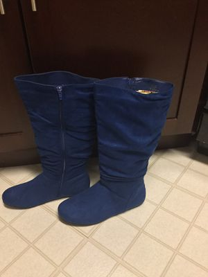 Size 8 women's blue suede mid calf boots. BRAND NEW!! for Sale in Adelphi, MD