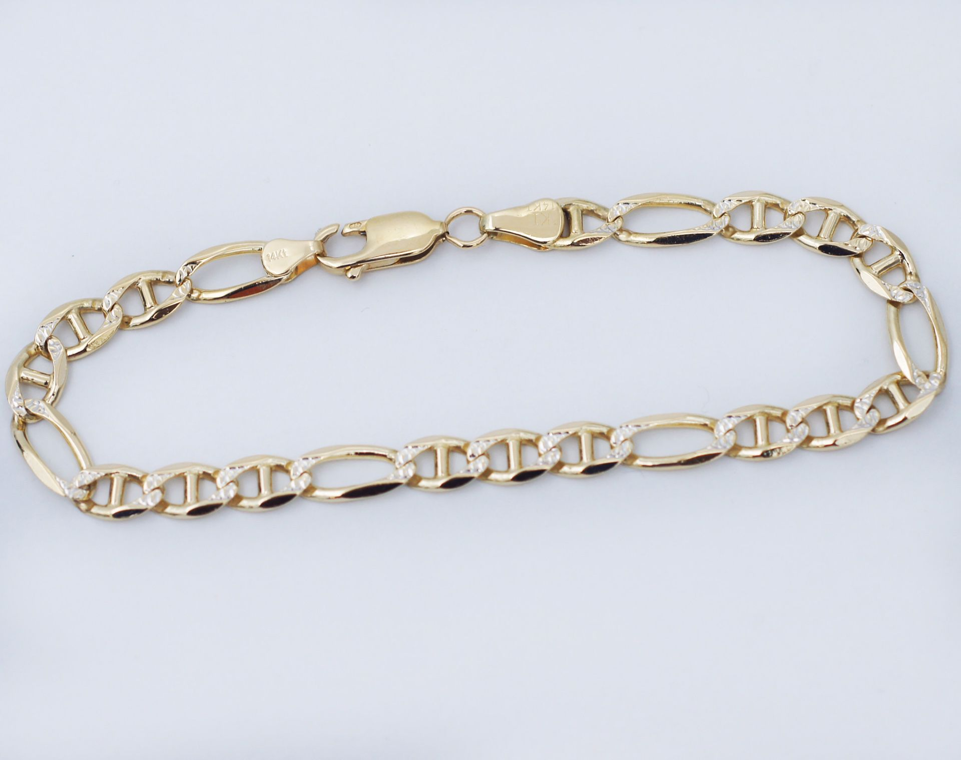 """14K Gold 6mm Gucci Paved Link Chain Bracelet, 8"""" in Length and Only $465"""