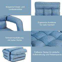 Folding Lazy Floor Chair Sofa With Armrests And Pillow-Blue  Thumbnail