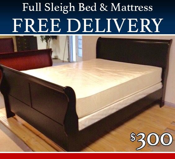 Full Size Bed, Black Sleigh with Mattress and Free Delivery