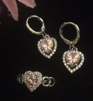 Silver Plated Earrings Ring Set Size 7 for Sale in Denver, CO
