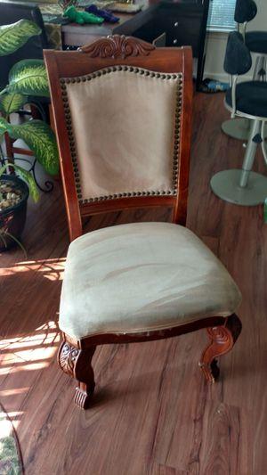 Beautiful suede hardwood chair for Sale in Manassas, VA