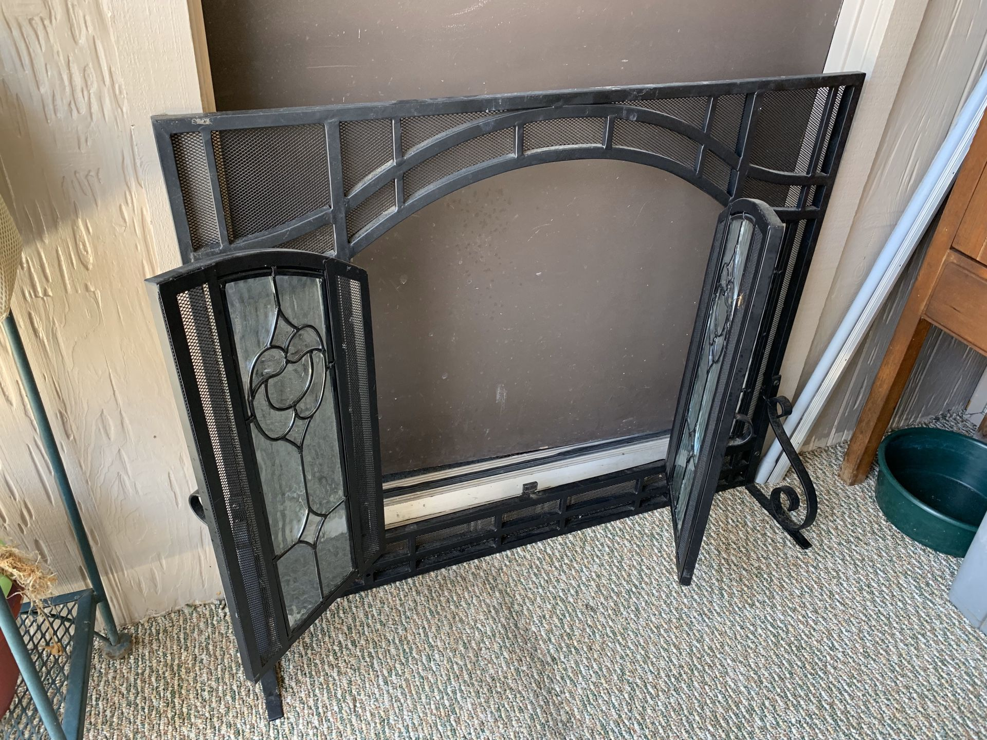 Black Iron and Glass Fireplace Screen